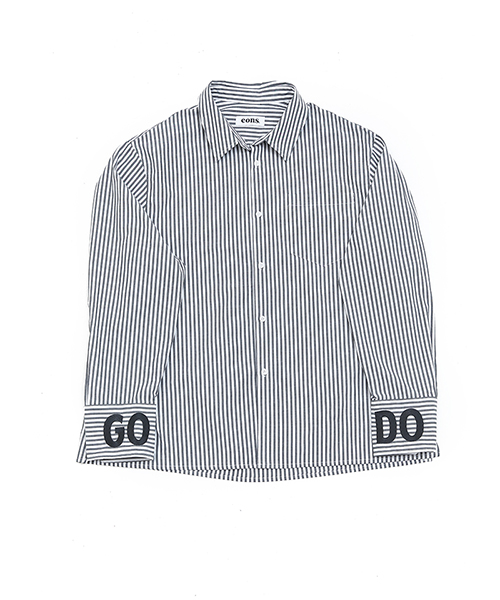 EONS GODO OVERFIT STRIPED SHIRT - black