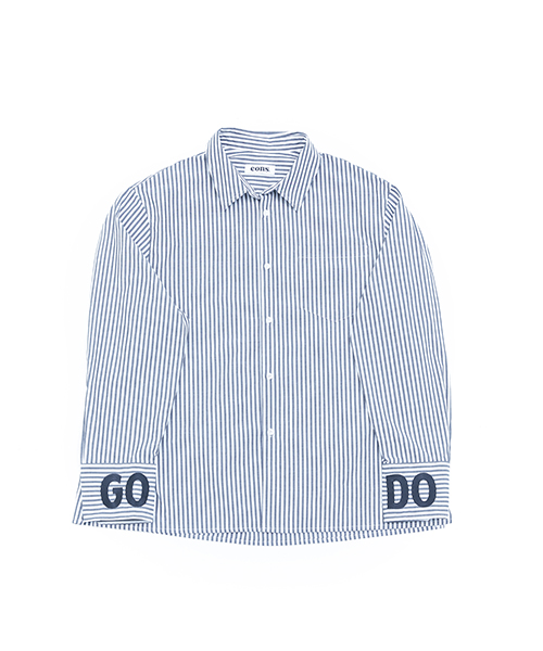 EONS GODO OVERFIT STRIPED SHIRT - blue